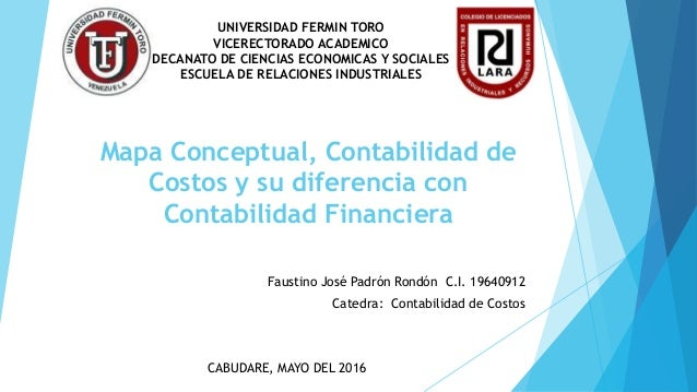 Mapa Conceptual, Contabilidad de Costos y su diferencia con Contabilidad Financiera UNIVERSIDAD FERMIN TORO VICERECTORADO ...