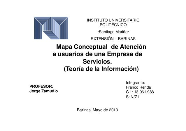 """INSTITUTO UNIVERSITARIOPOLITÉCNICO""""Santiago Mariño""""EXTENSIÓN – BARINASMapa Conceptual de Atencióna usuarios de una Empresa..."""