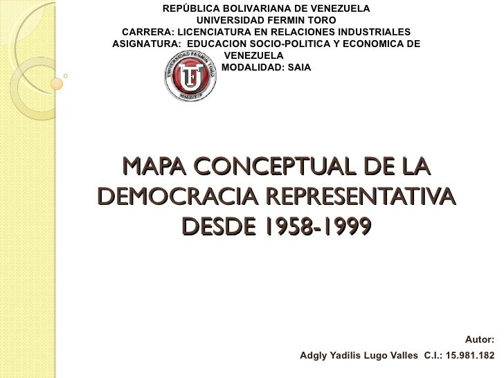 REPÚBLICA BOLIVARIANA DE VENEZUELA              UNIVERSIDAD FERMIN TORO  CARRERA: LICENCIATURA EN RELACIONES INDUSTRIALES ...