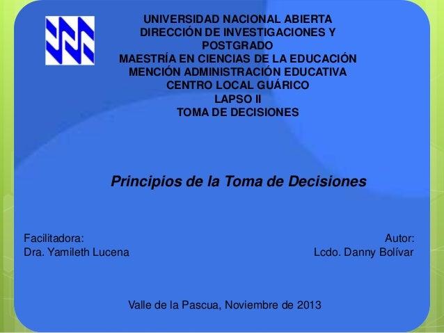 UNIVERSIDAD NACIONAL ABIERTA DIRECCIÓN DE INVESTIGACIONES Y POSTGRADO MAESTRÍA EN CIENCIAS DE LA EDUCACIÓN MENCIÓN ADMINIS...