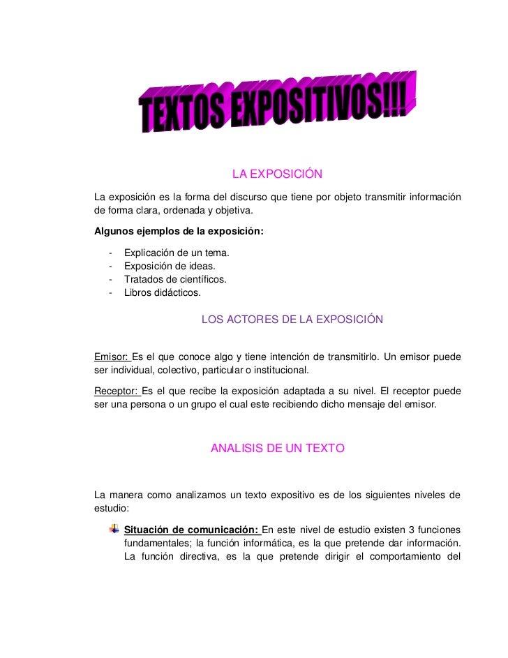 LA EXPOSICIÓN<br />La exposición es la forma del discurso que tiene por objeto transmitir información de forma clara, orde...