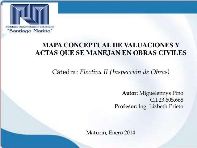 MAPA CONCEPTUAL DE VALUACIONES Y ACTAS QUE SE MANEJAN EN OBRAS CIVILES Cátedra: Electiva II (Inspección de Obras) Autor: M...