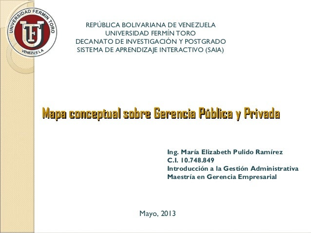 Mapa conceptual sobre Gerencia Pública y PrivadaMapa conceptual sobre Gerencia Pública y PrivadaIng. María Elizabeth Pulid...