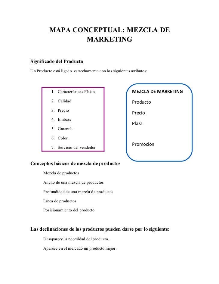 MAPA CONCEPTUAL: MEZCLA DE                  MARKETINGSignificado del ProductoUn Producto está ligado estrechamente con los...