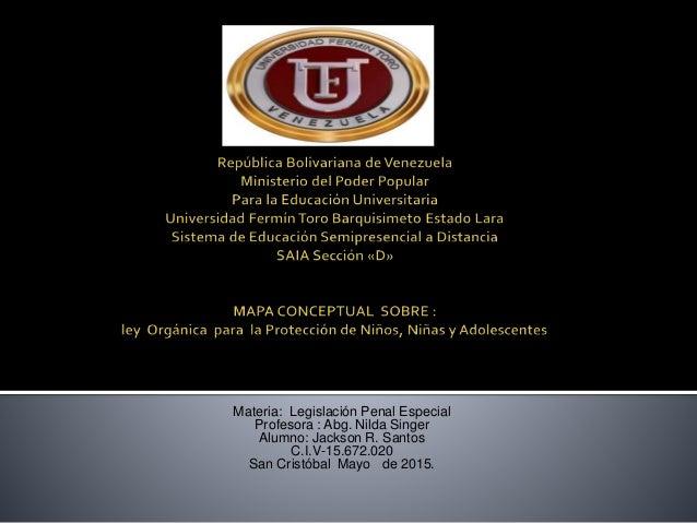 Materia: Legislación Penal Especial Profesora : Abg. Nilda Singer Alumno: Jackson R. Santos C.I.V-15.672.020 San Cristóbal...