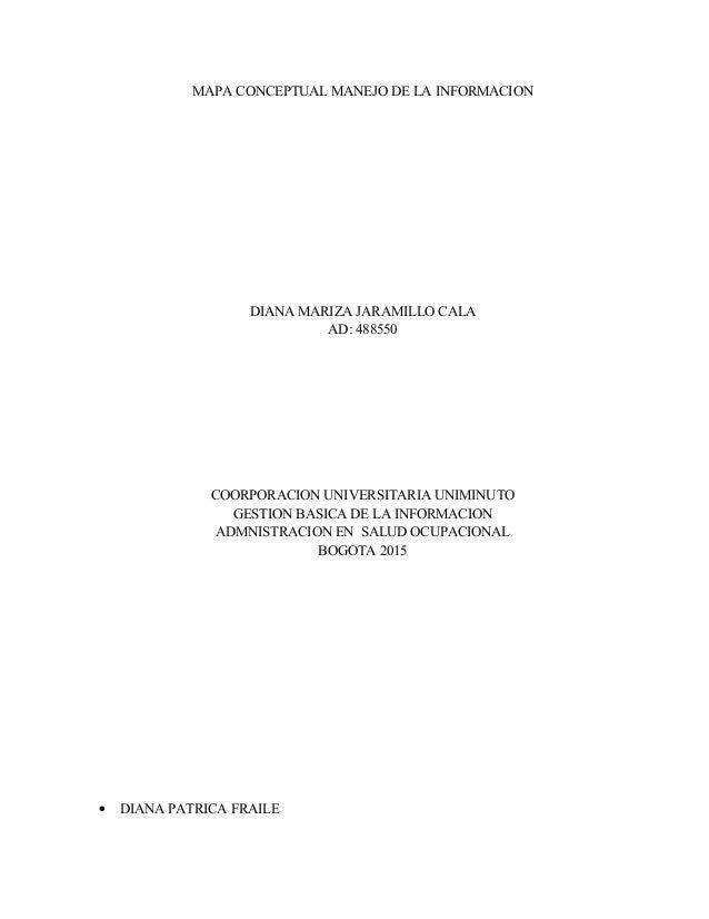 MAPA CONCEPTUAL MANEJO DE LA INFORMACION DIANA MARIZA JARAMILLO CALA AD: 488550 COORPORACION UNIVERSITARIA UNIMINUTO GESTI...