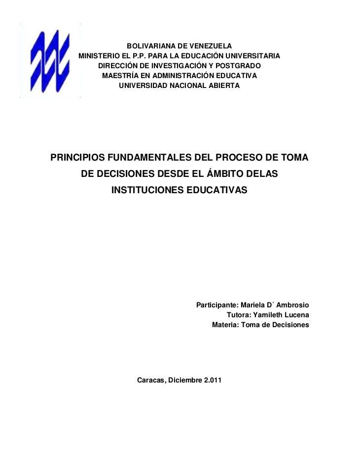 BOLIVARIANA DE VENEZUELA    MINISTERIO EL P.P. PARA LA EDUCACIÓN UNIVERSITARIA         DIRECCIÓN DE INVESTIGACIÓN Y POSTGR...