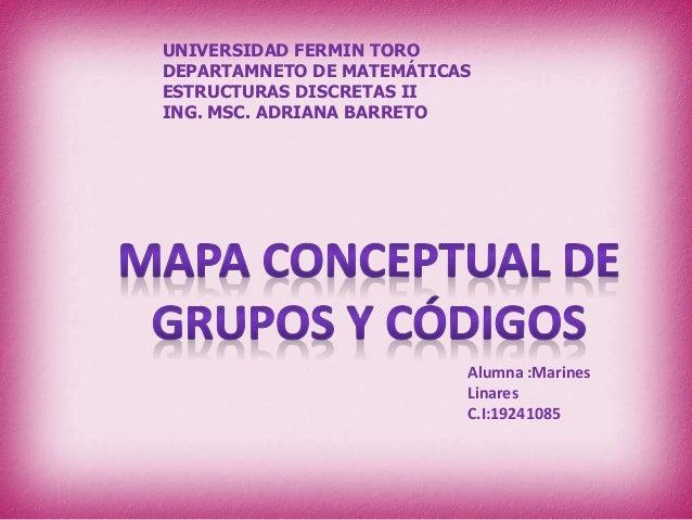 UNIVERSIDAD FERMIN TORO DEPARTAMNETO DE MATEMÁTICAS ESTRUCTURAS DISCRETAS II ING. MSC. ADRIANA BARRETO Alumna :Marines Lin...
