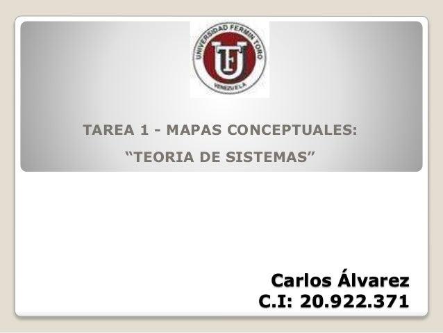 "Carlos Álvarez C.I: 20.922.371 TAREA 1 - MAPAS CONCEPTUALES: ""TEORIA DE SISTEMAS"""