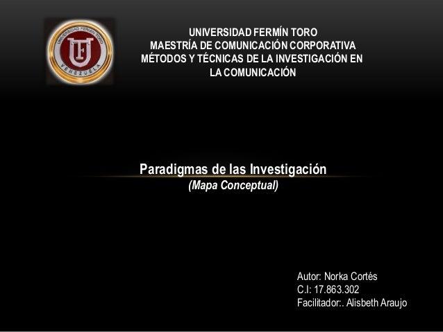 UNIVERSIDAD FERMÍN TORO MAESTRÍA DE COMUNICACIÓN CORPORATIVA MÉTODOS Y TÉCNICAS DE LA INVESTIGACIÓN EN LA COMUNICACIÓN  Pa...