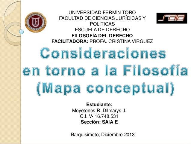 UNIVERSIDAD FERMÍN TORO FACULTAD DE CIENCIAS JURÍDICAS Y POLÍTICAS ESCUELA DE DERECHO FILOSOFÍA DEL DERECHO FACILITADORA: ...