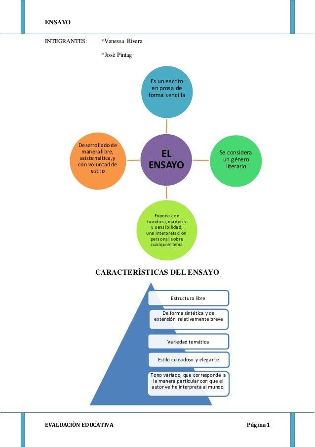 ENSAYO EVALUACIÒN EDUCATIVA Página1 Estructura libre De forma sintética y de extensión relativamente breve Variedad temáti...