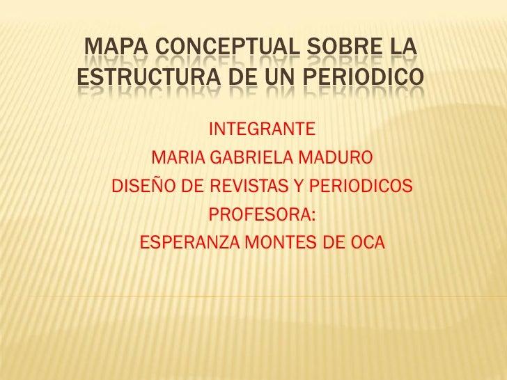 MAPA CONCEPTUAL SOBRE LAESTRUCTURA DE UN PERIODICO            INTEGRANTE      MARIA GABRIELA MADURO  DISEÑO DE REVISTAS Y ...