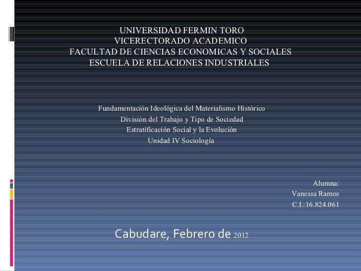 UNIVERSIDAD FERMIN TORO VICERECTORADO ACADEMICO FACULTAD DE CIENCIAS ECONOMICAS Y SOCIALES ESCUELA DE RELACIONES INDUSTR...
