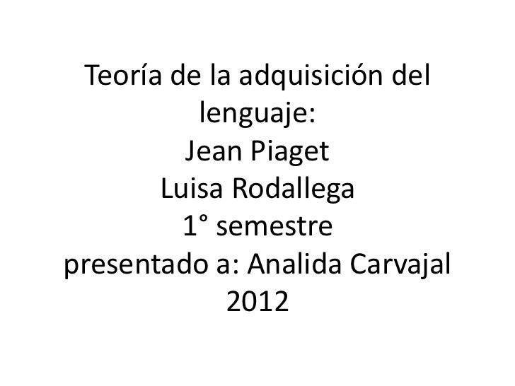 Teoría de la adquisición del          lenguaje:         Jean Piaget       Luisa Rodallega         1° semestrepresentado a:...