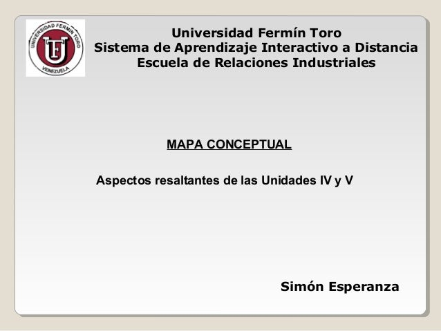 Universidad Fermín Toro Sistema de Aprendizaje Interactivo a Distancia Escuela de Relaciones Industriales Aspectos resalta...