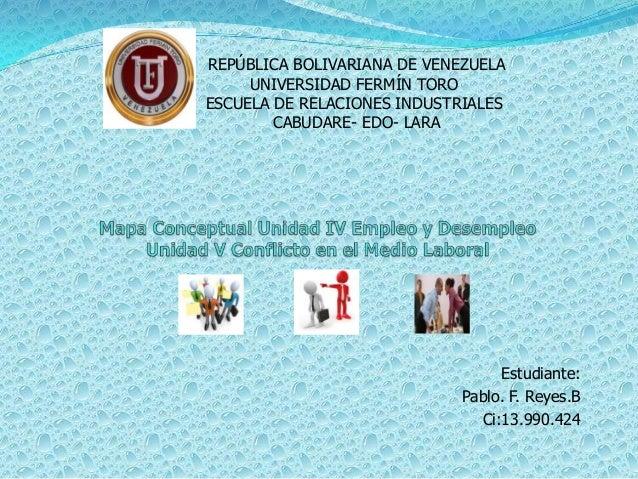 Estudiante: Pablo. F. Reyes.B Ci:13.990.424 REPÚBLICA BOLIVARIANA DE VENEZUELA UNIVERSIDAD FERMÍN TORO ESCUELA DE RELACION...