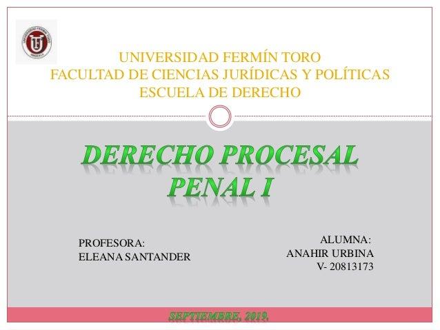 UNIVERSIDAD FERMÍN TORO FACULTAD DE CIENCIAS JURÍDICAS Y POLÍTICAS ESCUELA DE DERECHO ALUMNA: ANAHIR URBINA V- 20813173 PR...