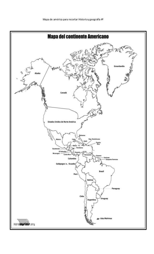 Mapa America Para Imprimir.Mapa De America Para Recortar Historia Y Geografia 4º