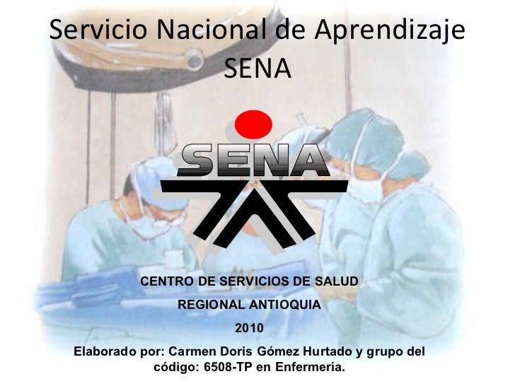 Servicio Nacional de Aprendizaje SENA CENTRO DE SERVICIOS DE SALUD REGIONAL ANTIOQUIA 2010 Elaborado por: Carmen Doris Góm...