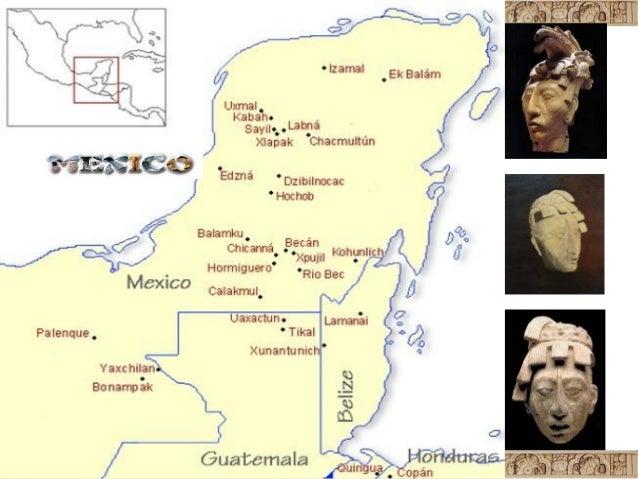 Mapa De Ciudades Mayas Y Sus Ruinas