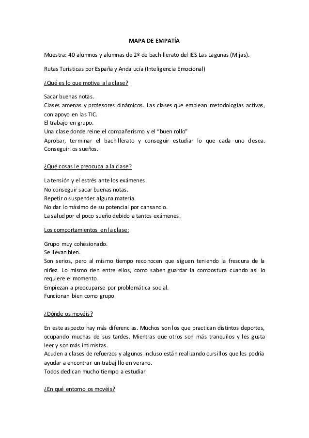 MAPA DE EMPATÍA Muestra: 40 alumnos y alumnas de 2º de bachillerato del IES Las Lagunas (Mijas). Rutas Turísticas por Espa...