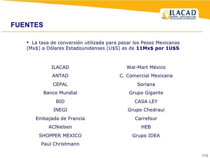 FUENTES <ul><li>La tasa de conversión utilizada para pasar los Pesos Mexicanos (Mx$) a Dólares Estadounidenses (U$S) es de...
