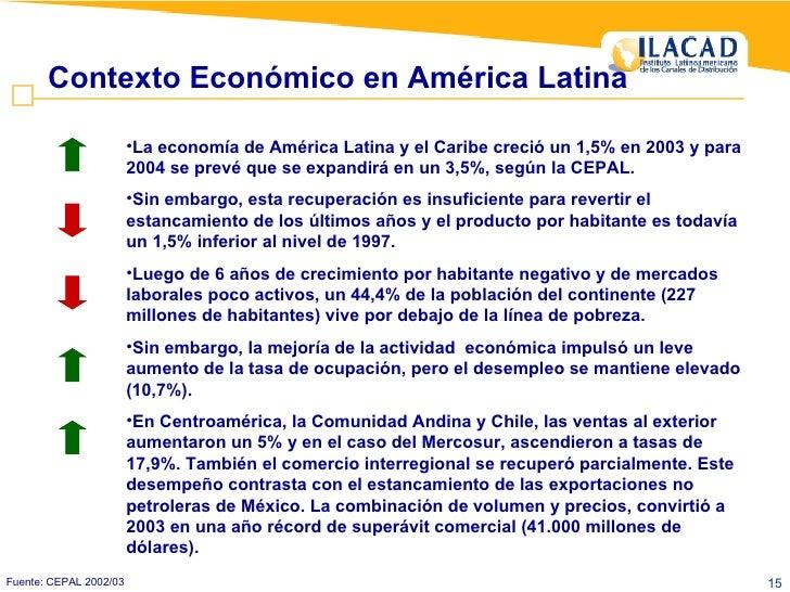 Contexto Económico en América Latina Fuente: CEPAL 2002/03 <ul><li>La economía de América Latina y el Caribe creció un 1,5...