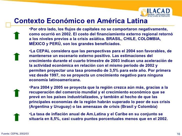 Contexto Económico en América Latina Fuente: CEPAL 2002/03 <ul><li>Por otro lado, los flujos de capitales no se comportaro...