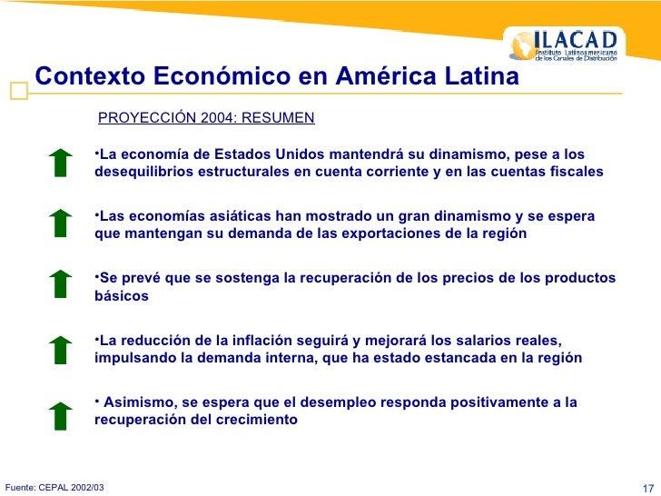 Contexto Económico en América Latina Fuente: CEPAL 2002/03 <ul><li>La economía de Estados Unidos mantendrá su dinamismo, p...