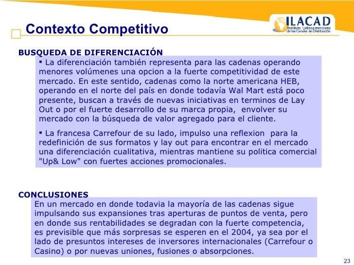 <ul><li>La diferenciación tambiénrepresenta para las cadenas operando menores volúmenes una opcion a la fuerte competitiv...