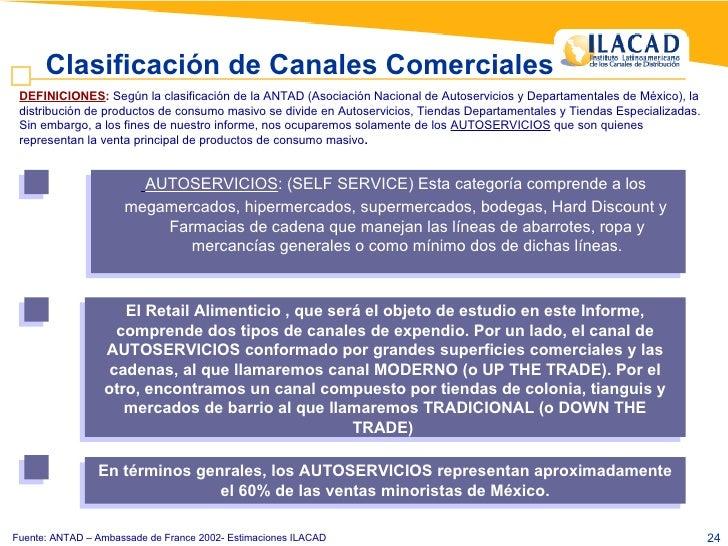 Fuente: ANTAD – Ambassade de France 2002- Estimaciones ILACAD Clasificación de Canales Comerciales   <ul><ul><li>AUTOSERVI...