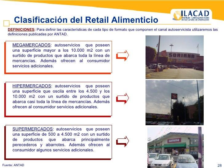 Fuente: ANTAD  Clasificación del Retail Alimenticio <ul><ul><li>MEGAMERCADOS : autoservicios  que poseen una superficie ma...