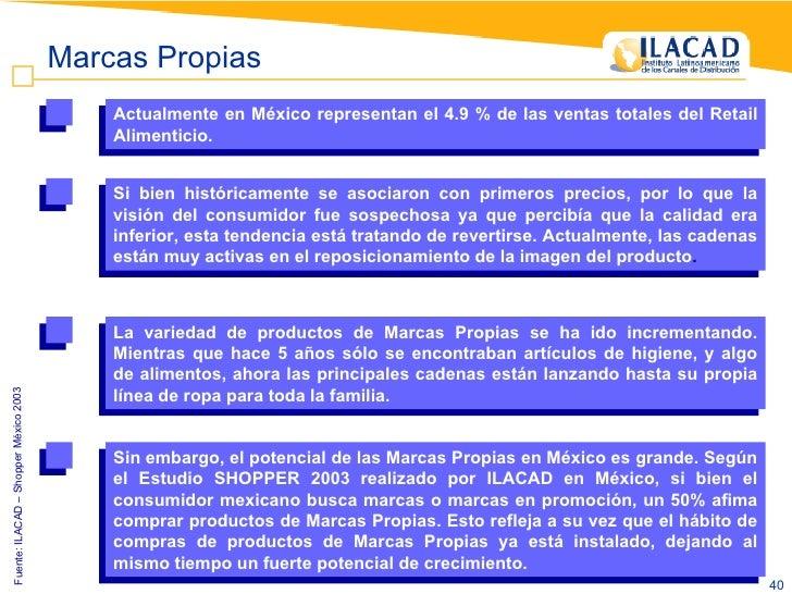 Fuente: ILACAD – Shopper México 2003  Marcas Propias Actualmente en México representan el 4.9 % de las ventas totales del ...