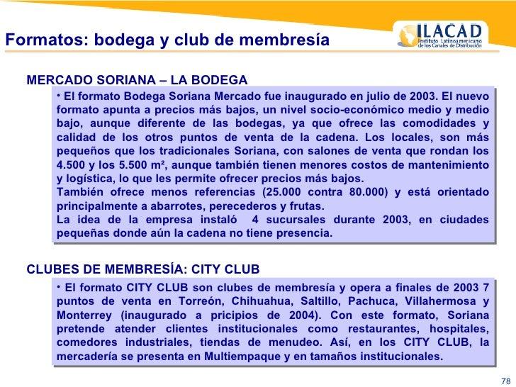 MERCADO SORIANA – LA BODEGA <ul><li>El formato Bodega Soriana Mercado fue inaugurado en julio de 2003. El nuevo formato ap...