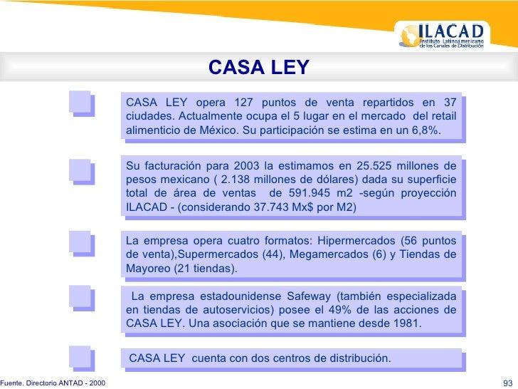 CASA LEY CASA LEY opera 127 puntos de venta repartidos en 37 ciudades. Actualmente ocupa el 5 lugar en el mercado  del ret...