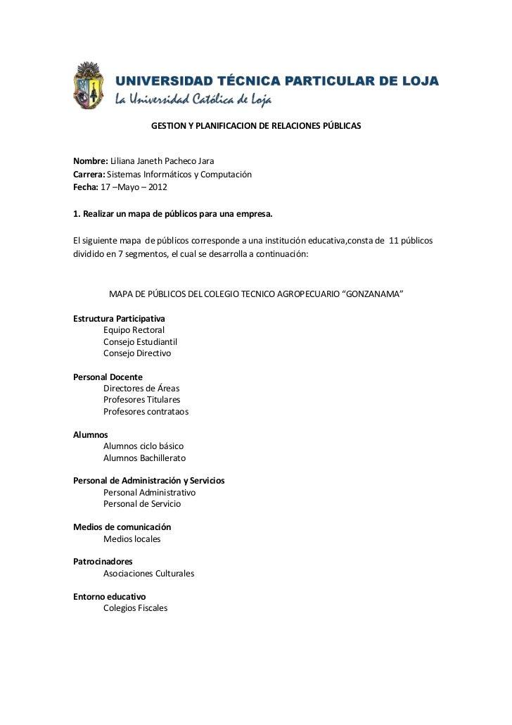 GESTION Y PLANIFICACION DE RELACIONES PÚBLICASNombre: Liliana Janeth Pacheco JaraCarrera: Sistemas Informáticos y Computac...