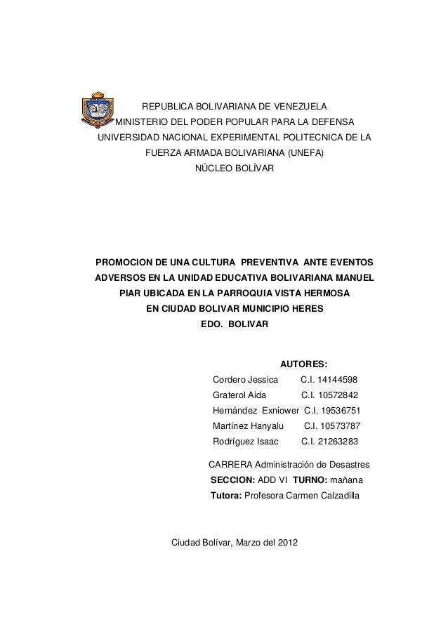1 REPUBLICA BOLIVARIANA DE VENEZUELA MINISTERIO DEL PODER POPULAR PARA LA DEFENSA UNIVERSIDAD NACIONAL EXPERIMENTAL POLITE...