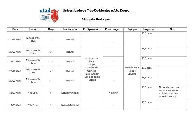 Universidade de Trás-Os-Montes e Alto DouroMapa de RodagemData Local Seq. Iluminação Equipamento Personagem Equipa Logísti...