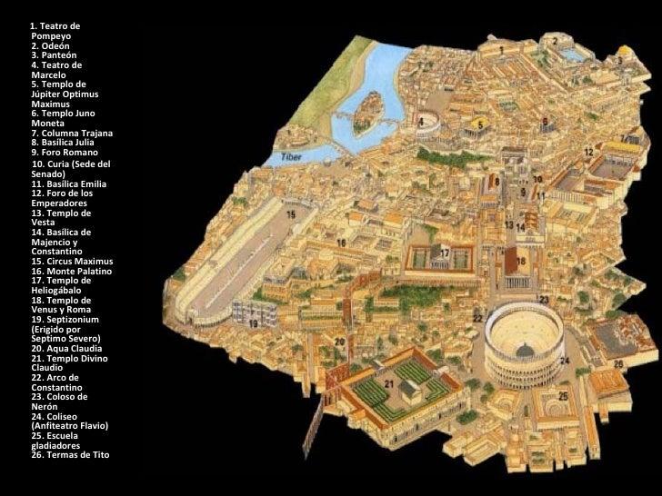 <ul><li>1. Teatro de Pompeyo 2. Odeón 3. Panteón 4. Teatro de Marcelo 5. Templo de Júpiter Optimus Maximus 6. Templo Juno ...