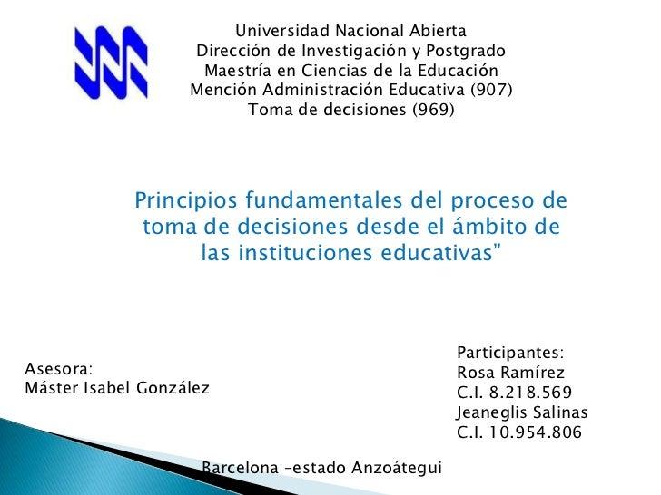 Universidad Nacional Abierta                   Dirección de Investigación y Postgrado                    Maestría en Cienc...