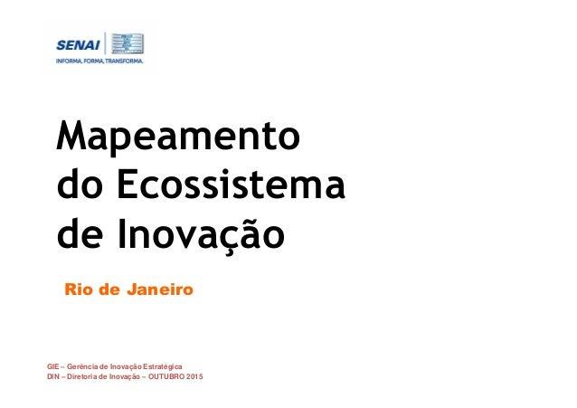 GIE – Gerência de Inovação Estratégica DIN – Diretoria de Inovação – OUTUBRO 2015 Mapeamento do Ecossistema de Inovação Ri...
