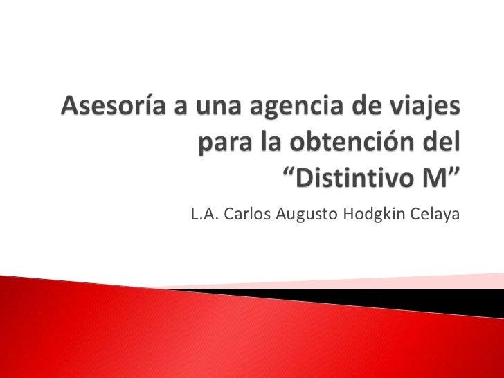"""Asesoría a una agencia de viajespara la obtención del """"Distintivo M""""<br />L.A. Carlos Augusto Hodgkin Celaya<br />"""