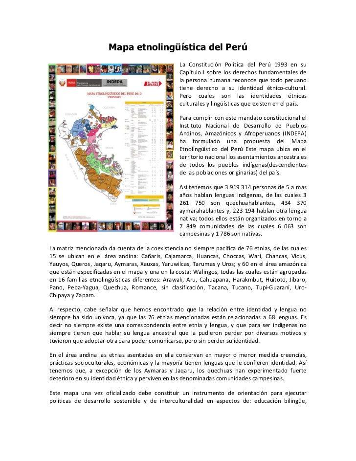 Mapa etnolingüística del Perú                                                 La Constitución Política del Perú 1993 en su...