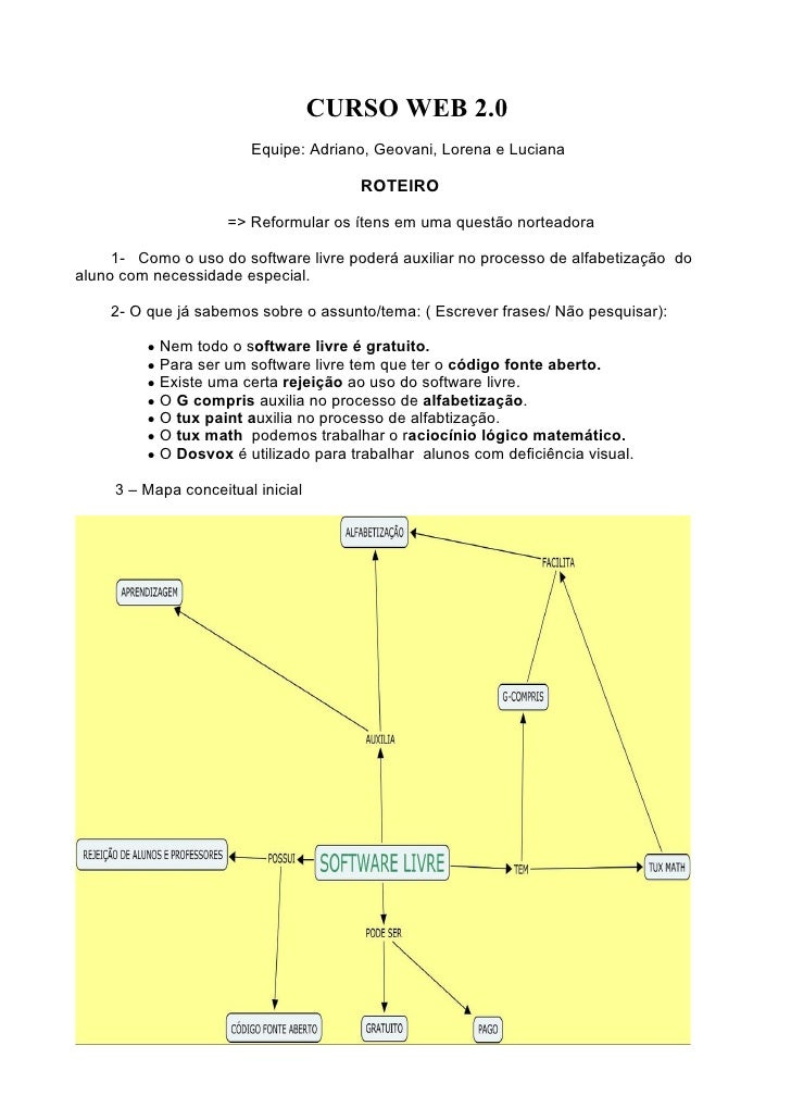 CURSO WEB 2.0                         Equipe: Adriano, Geovani, Lorena e Luciana                                        RO...