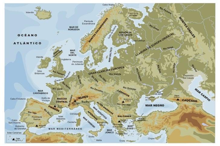 Mapa Físico De Europa.Mapa Fisico De Europa