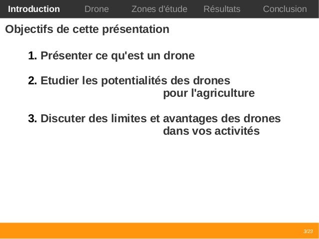 Retour d'expérience sur l'utilisation des drones civiles pour l'agriculture Slide 3