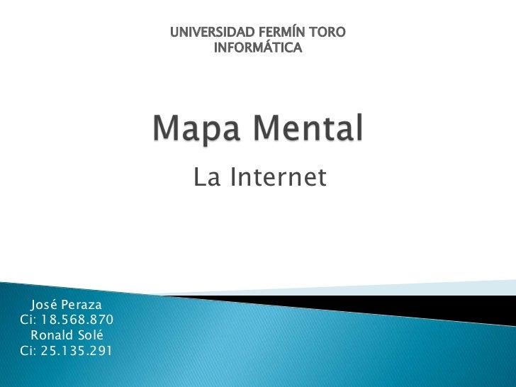UNIVERSIDAD FERMÍN TORO                       INFORMÁTICA                    La Internet  José PerazaCi: 18.568.870 Ronald...