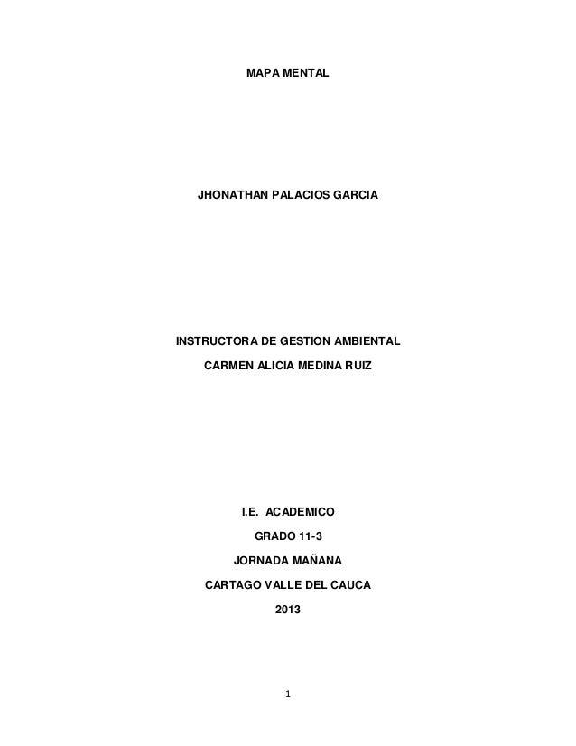 1 MAPA MENTAL JHONATHAN PALACIOS GARCIA INSTRUCTORA DE GESTION AMBIENTAL CARMEN ALICIA MEDINA RUIZ I.E. ACADEMICO GRADO 11...