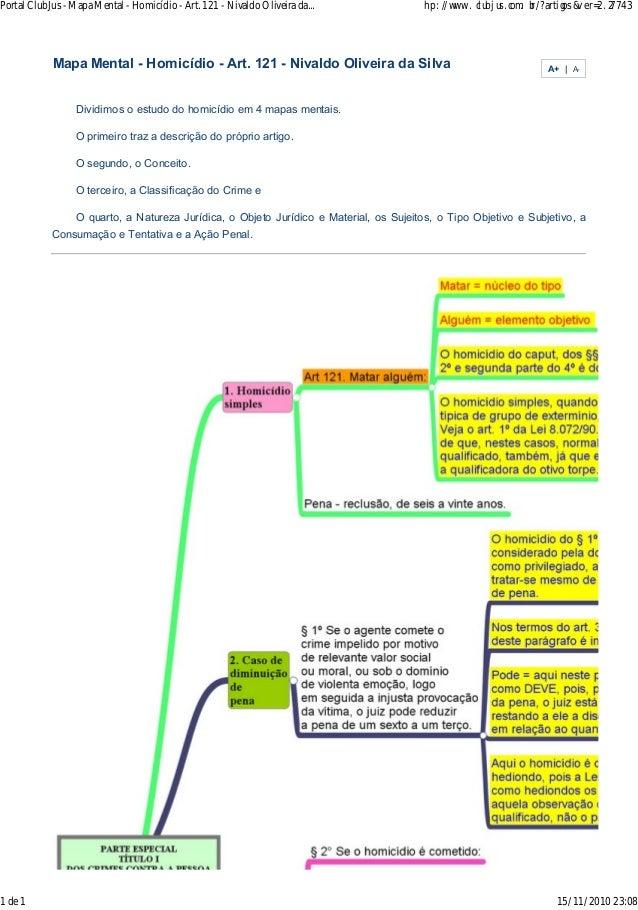 Portal ClubJus - Mapa Mental - Homicídio - Art. 121 - Nivaldo Oliveira da... hp: //www. cl ubj us .com. br /?artigos&v er=...